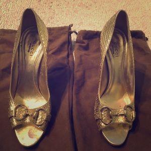 Gold Gucci Python Horsebit Peep Toe Heels